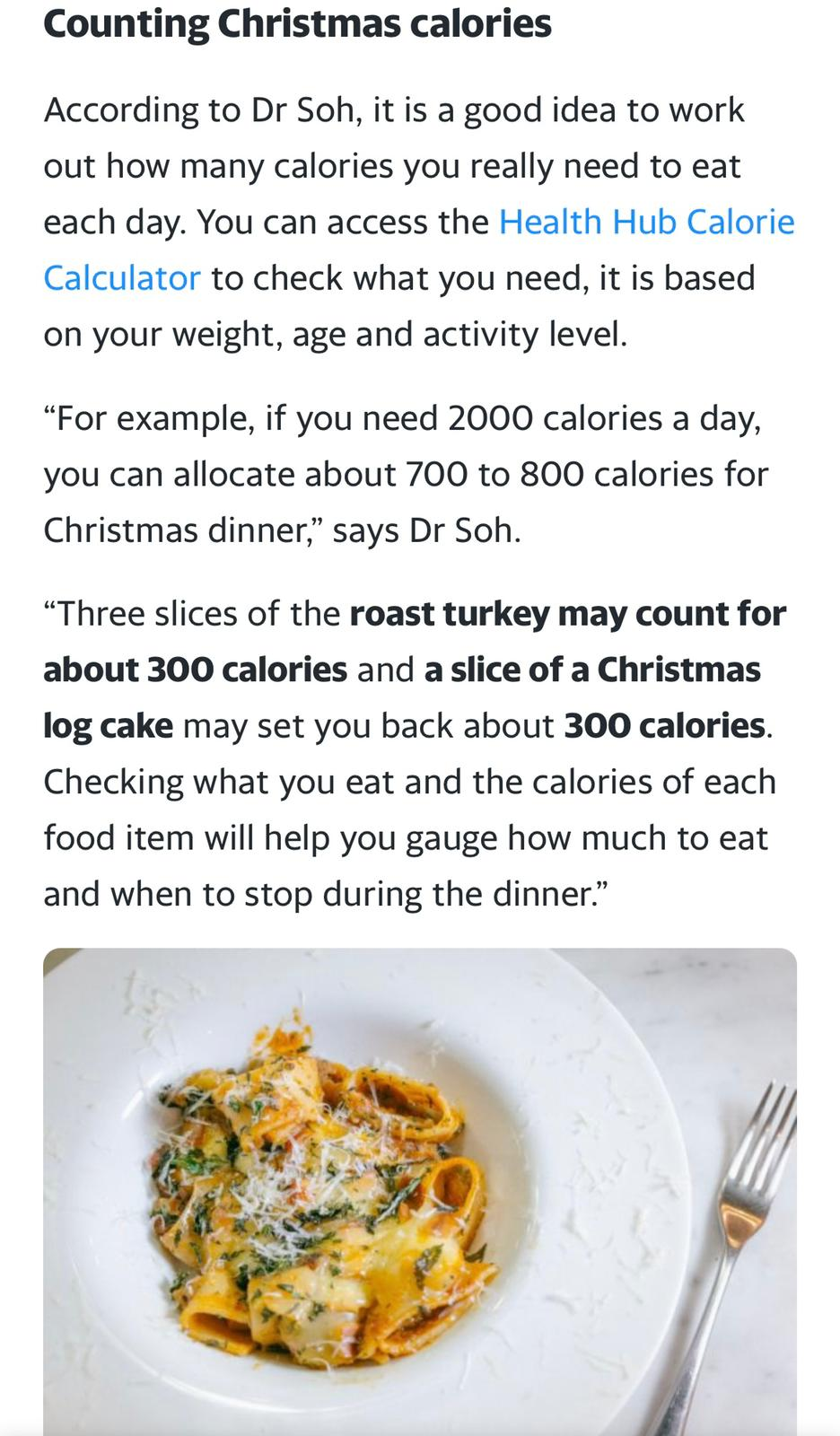 Christmas calorie counting